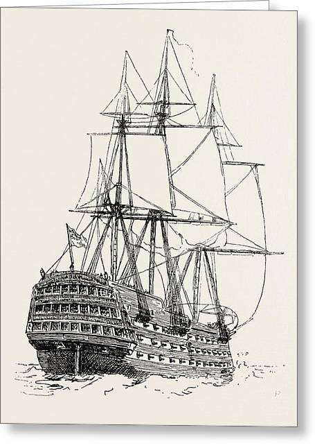Model Of The Victory Nelsons Ship At Trafalgar Greeting Card by English School