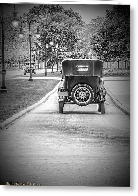 Model T Ford Down The Road Greeting Card