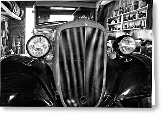 Model T Ford Monochrome Greeting Card