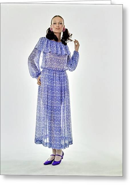 Model Wearing A Blue Chloe Dress Greeting Card
