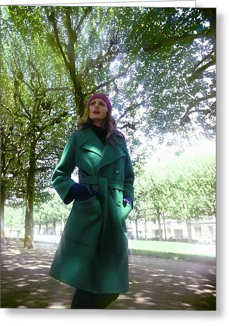 Model Wearing A Dior Boutique Coat Greeting Card