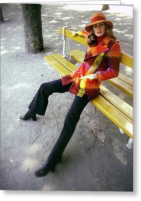 Model Wearing A Plaid Coat Greeting Card