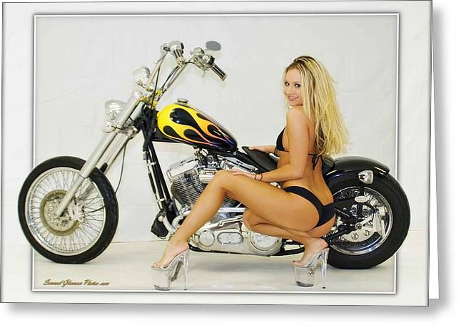 Models And Motorcycles_l Greeting Card