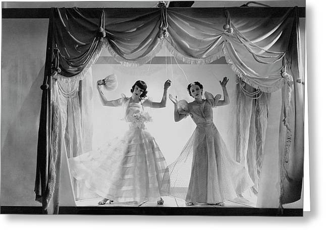 Models As Marionettes Greeting Card by Cecil Beaton