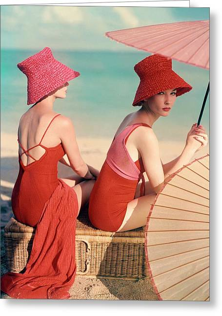Models At A Beach Greeting Card by Louise Dahl-Wolfe