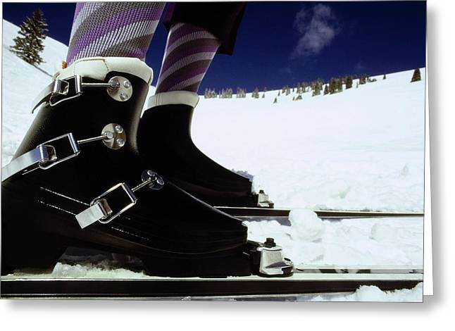 Model's Feet Wearing Lange Ski Boots Greeting Card