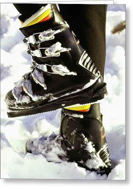 Model's Feet Wearing Ski Boots Greeting Card