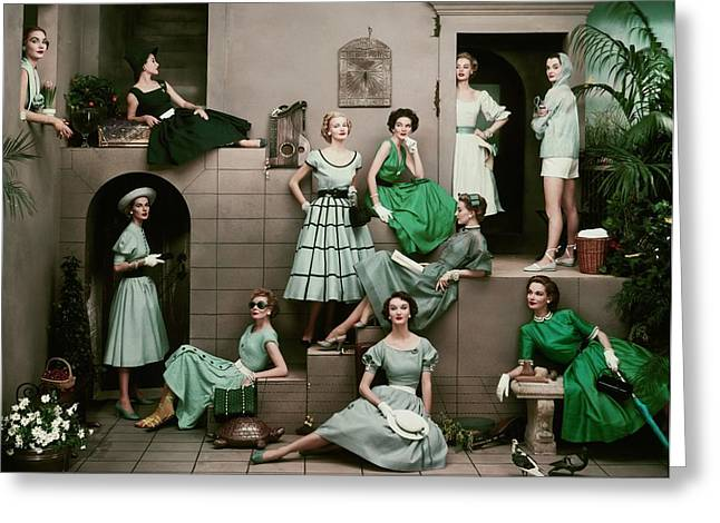 Models In Various Green Dresses Greeting Card by Frances Mclaughlin-Gill