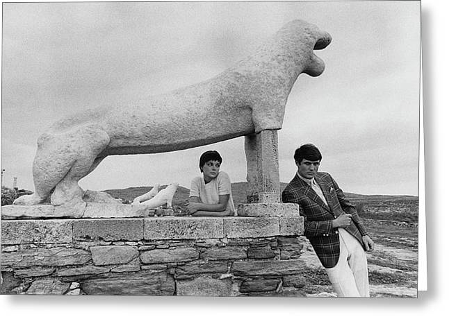 Models Posing By A Sculpture Of A Lion Greeting Card by Leonard Nones
