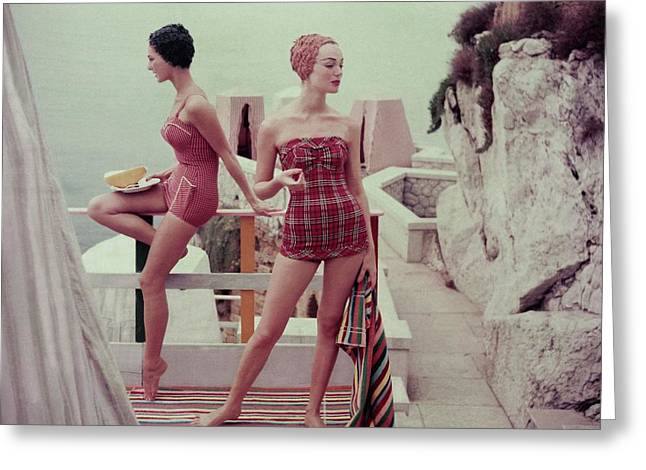 Models Wearing Bathing Suits In Palermo Greeting Card by Henry Clarke