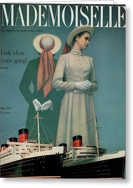 Models Wearing Duchess Royal Above Ships Greeting Card by Herman Landshoff