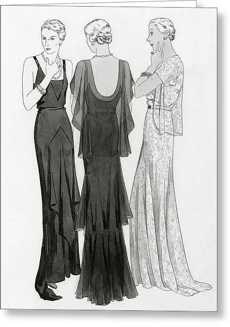 Models Wearing Evening Gowns Greeting Card by Polly Tigue Francis