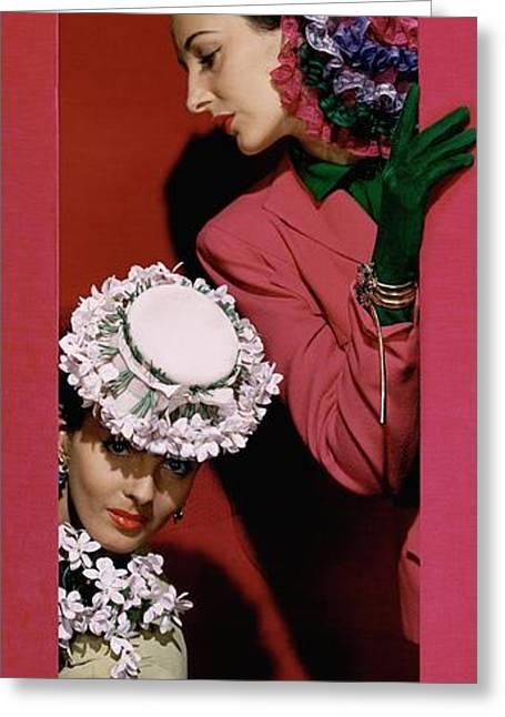 Models Wearing Hats Greeting Card by John Rawlings