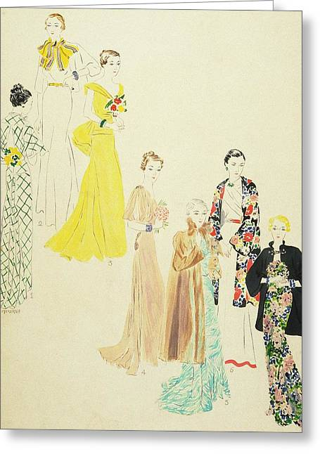Models Wearing Jay-thorpe And Lillian Sloane Greeting Card by Harriet Meserole