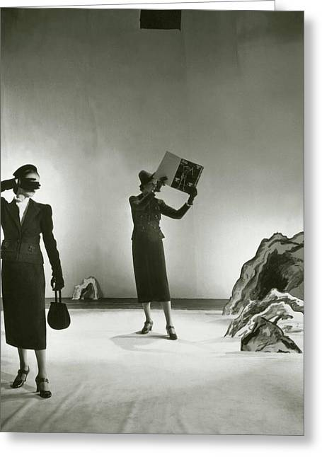 Models Wearing Schiaparelli Suits Greeting Card by Cecil Beaton