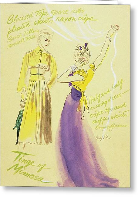 Models With Outfit Descriptions Greeting Card by R.S. Grafstrom