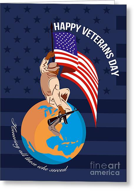 Modern American Veterans Day Greeting Card Greeting Card by Aloysius Patrimonio