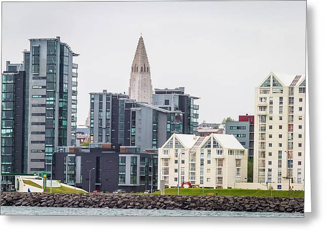 Modern Apartment Buildings Surrounding Greeting Card by Panoramic Images