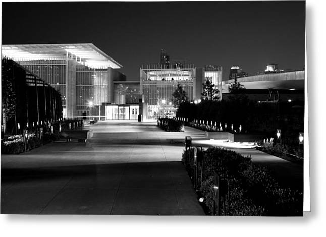 Modern Architecture Night Black White Greeting Card