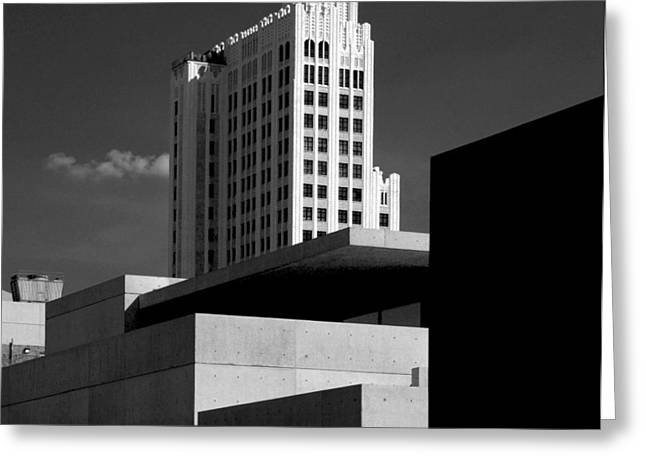 Modern Art Deco Architecture Black White Greeting Card