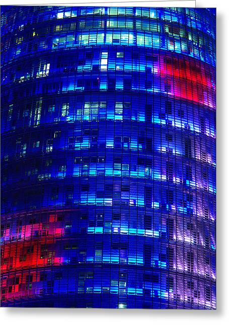 Modern Building At Night Greeting Card by Ioan Panaite