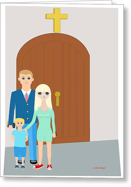 Modern Church Family Greeting Card