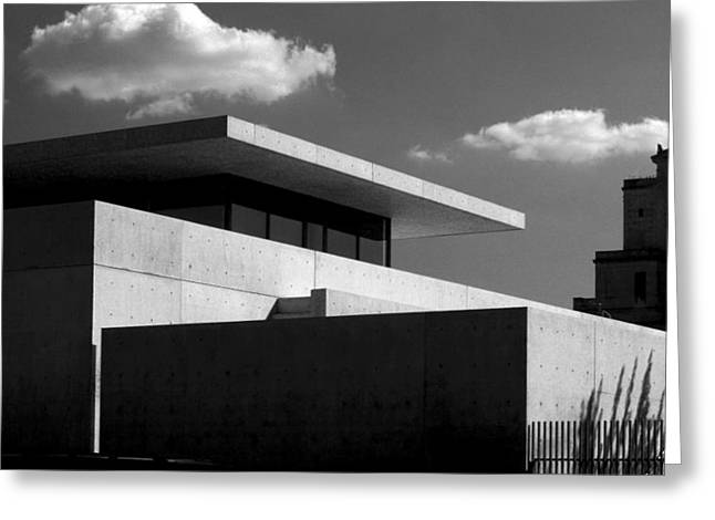 Modern Concrete Architecture Clouds Black White Greeting Card