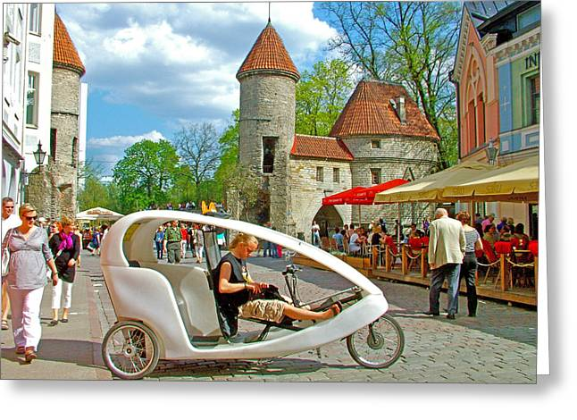 Modern Cycle Taxi In Old Town Tallinn-estonia Greeting Card by Ruth Hager