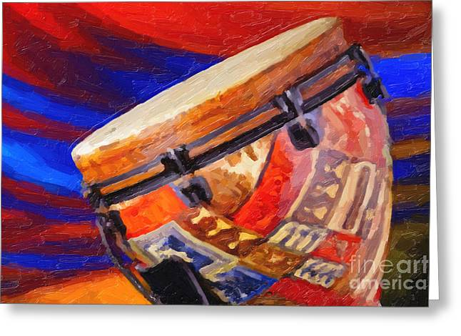 Modern Djembe African Drum Painting In Color 3337.02 Greeting Card