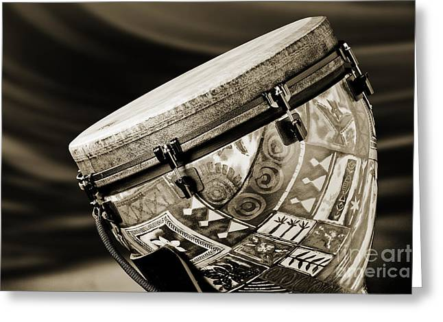 Modern Djembe African Drum Photograph In Sepia 3336.01 Greeting Card by M K  Miller