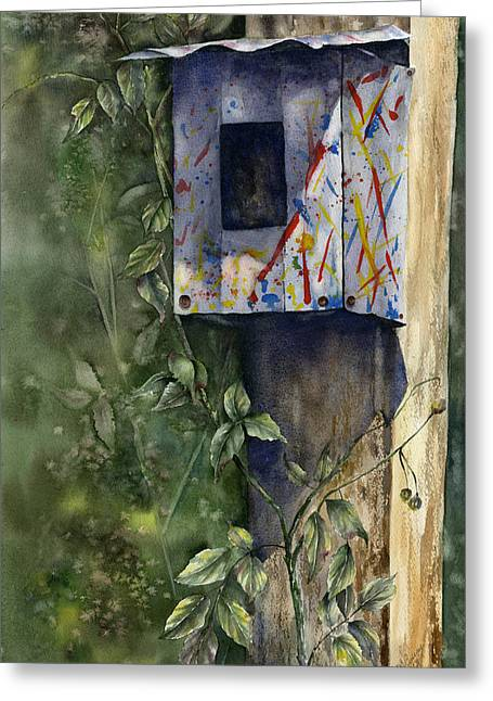 Greeting Card featuring the painting Modern Feathered Friends by Mary McCullah