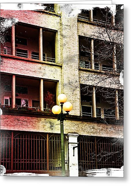 Greeting Card featuring the digital art Modern Grungy City Building  by Valerie Garner