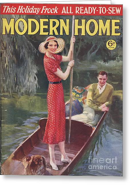 Modern Home 1930s Uk   Punting Boats Greeting Card by The Advertising Archives