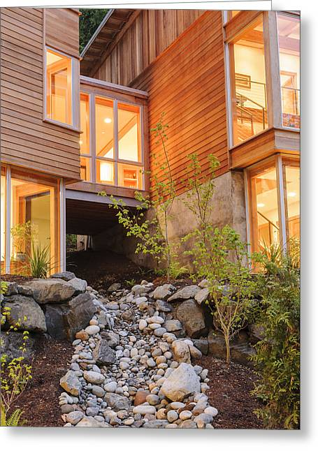 Modern House And Rocky Creek Greeting Card by Will Austin