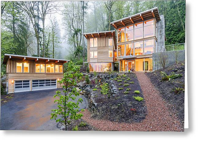 Modern House Illuminated In Woods Greeting Card by Will Austin