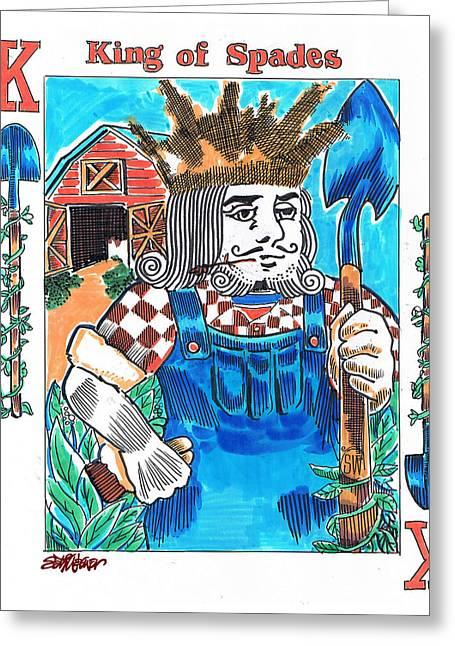 Modern King O' Spades Greeting Card by Seth Weaver