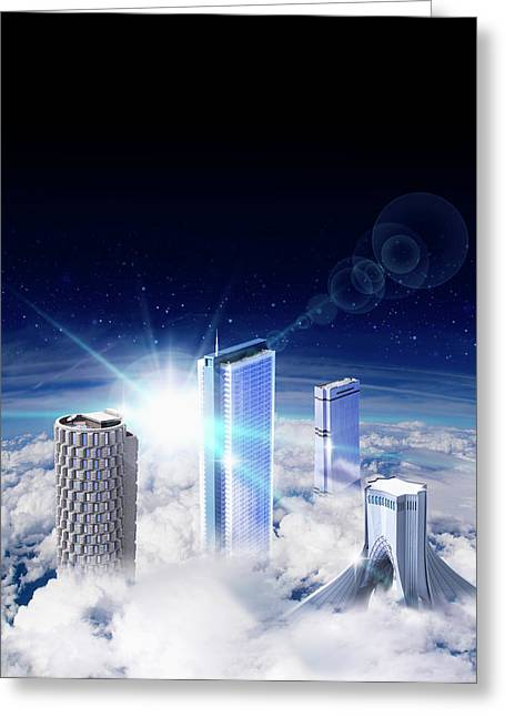 Modern Skyscrapers Rising Above Clouds Greeting Card