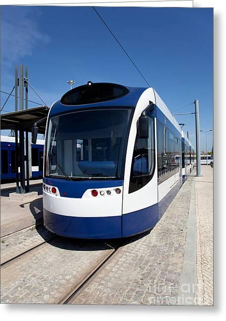 Modern Tram Greeting Card by Jose Elias - Sofia Pereira