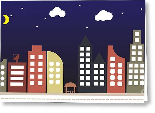 Modern Urban Building Landscape Vector Greeting Card
