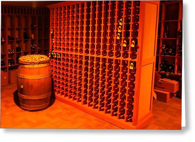 Modern Wine Cellar Greeting Card by Alex Grichenko