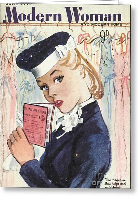 Modern Woman 1944 1940s Uk Womens Greeting Card by The Advertising Archives