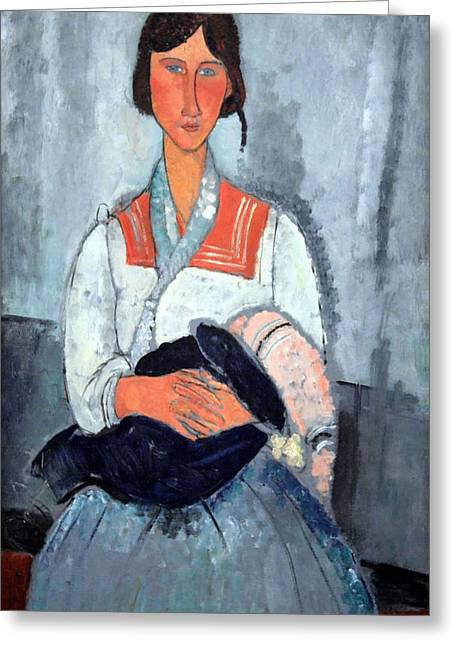 Modigliani's Gypsy Woman With Baby Greeting Card