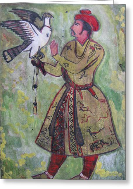 Greeting Card featuring the painting Moghul With Eagle by Vikram Singh