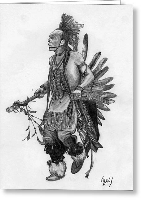 Mohawk Dancer Greeting Card by Lew Davis