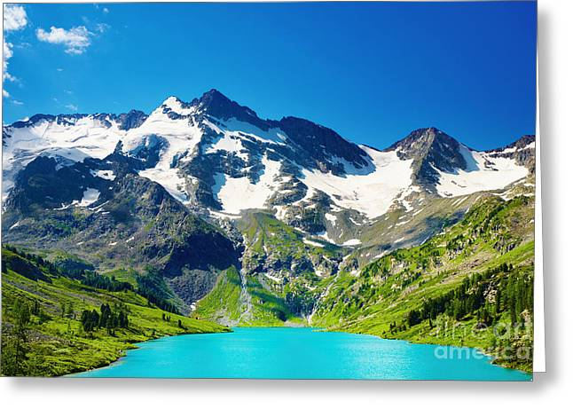 Mointain And Lake Beautiful Greeting Card by Boon Mee