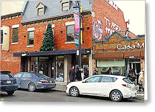 Moishes Restaurant Plateau Montreal Memories Vintage Landmark  Winter Scene Art Carole Spandau  Greeting Card by Carole Spandau