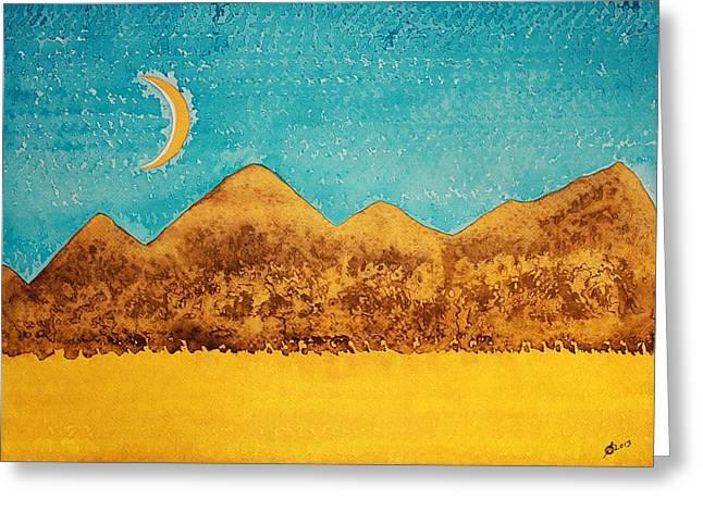 Mojave Moonrise Original Painting Greeting Card by Sol Luckman
