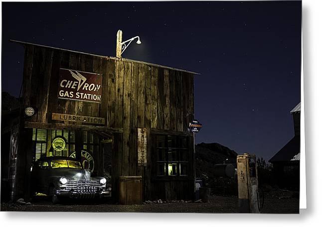 Mojave Nights At The Chevron Gas Station Greeting Card