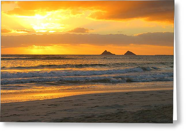 Mokulua Sunrise Greeting Card by Saya Studios