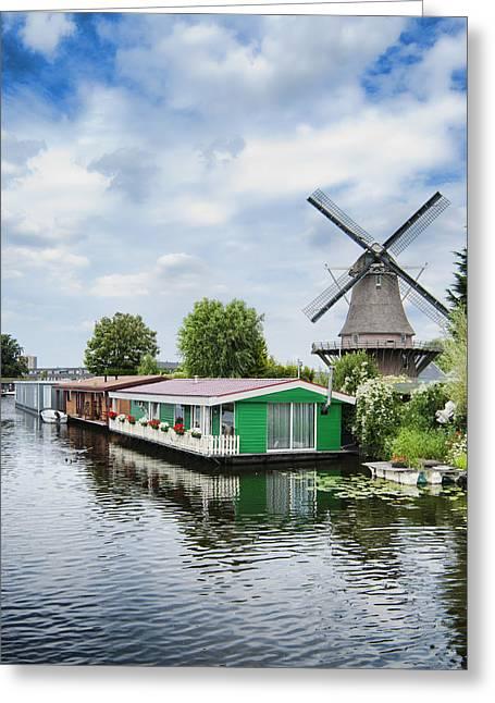 Molen Van Sloten And River Greeting Card